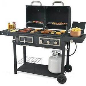 backyard grill dual gas charcoal grill burner bbq outdoor. Black Bedroom Furniture Sets. Home Design Ideas