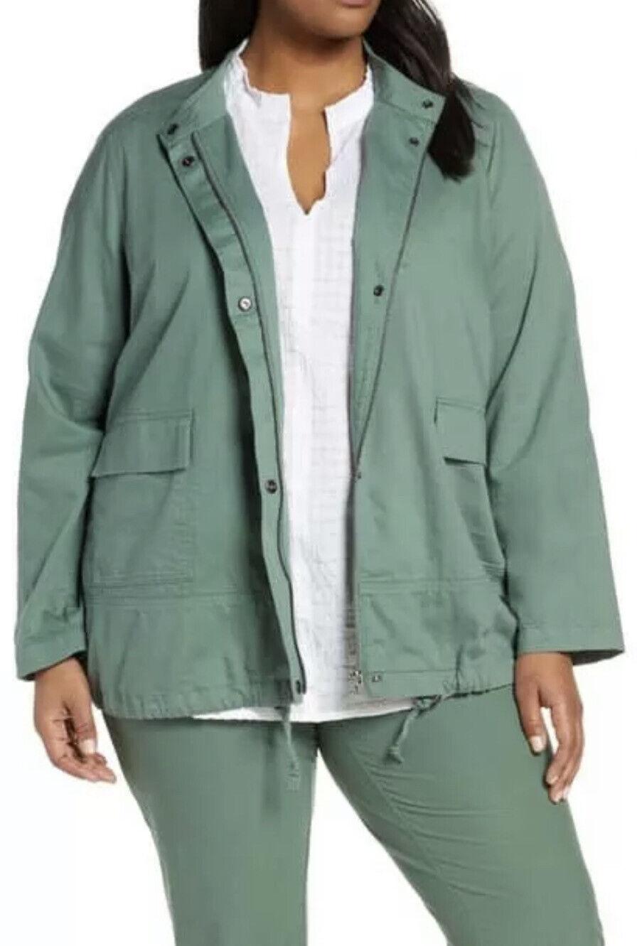 Eileen Fisher Soft Organic Cotton Twill Stand Collar Jacket Nori Green 2X
