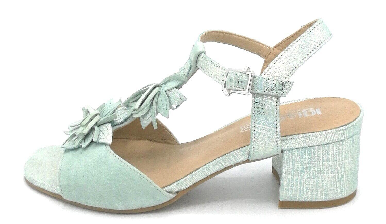 Igi&Co  1180744  sandalo in camoscio salvia con cinturino e frange tacco largo