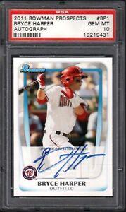 2011 Bowman Prospects #BP1 BRYCE HARPER Autograph PSA 10 GEM MINT