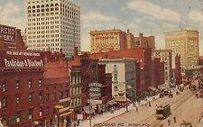 View on Woodward Avenue in Detroit MI Postcard 1911