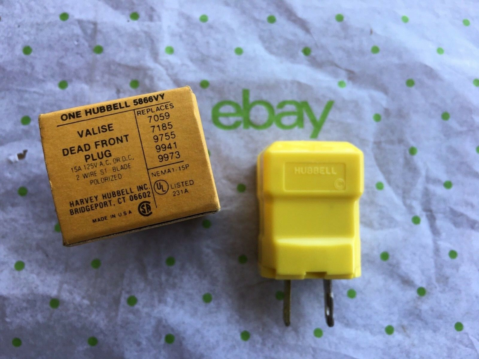 Hubbell Hbl5866vy Valise Plug 15 Amp 125v 1 15p Yellow Ebay Extension Cord Replacement Electrical Plugs 15amp 3 Prong