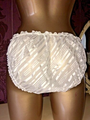 VINTAGE WHITE STRIPED FRILLY RUFFLED SHEER KNICKERS SISSY PANTIES SIZE 16 18