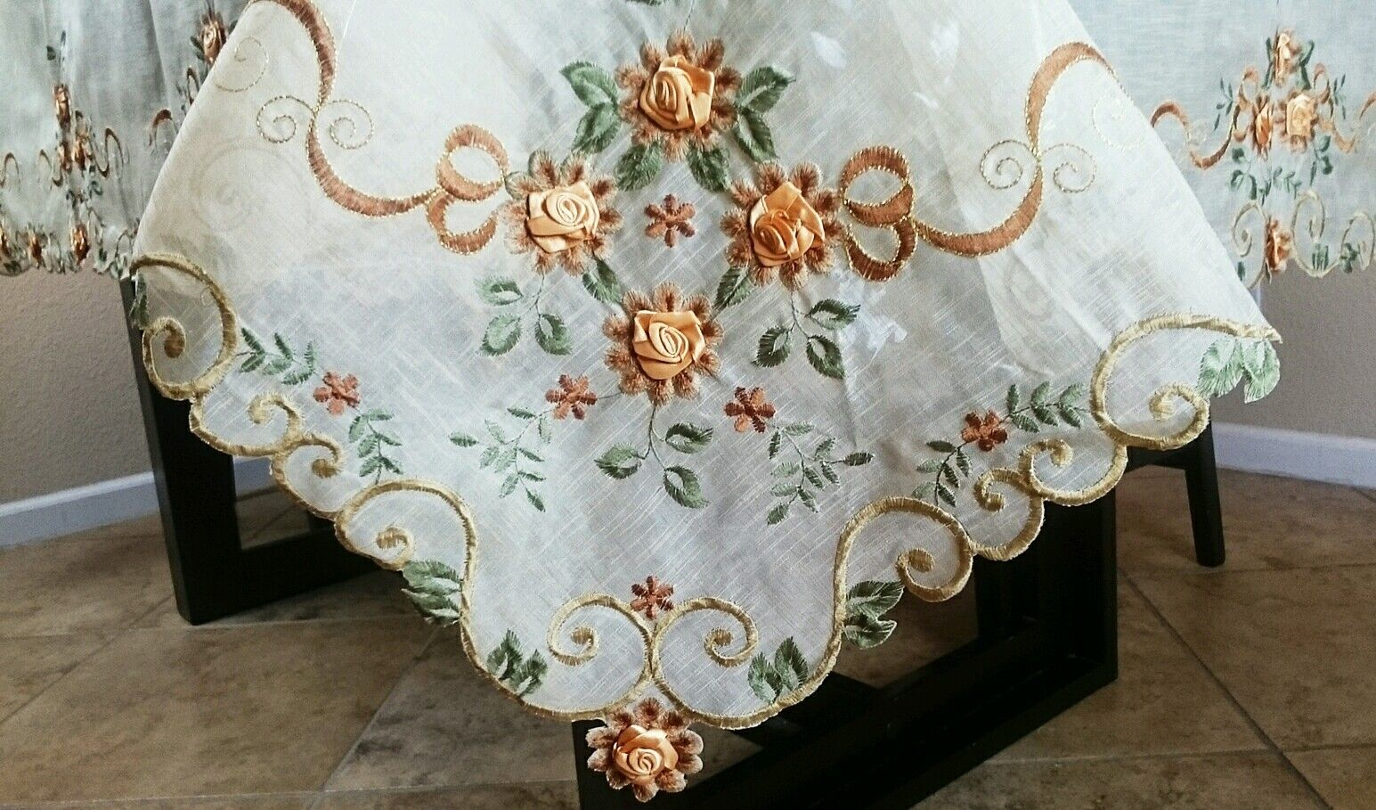 Embroidery 72x126  Organza Handmade Daisy Thanksgiving Tablecloth 12 Napkins