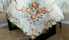 "Embroidery 72x144"" Organza Handmade Daisy Thanksgiving Tablecloth Elegant Linen"