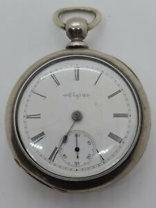 Antique 1882 ELGIN Victorian 11J victorian Key Wind Coin Silver Pocket Watch 18s