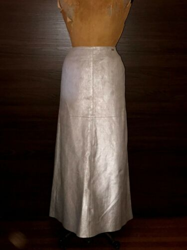 CHANEL Silver Metallic Maxi Suede/Leather Skirt fo