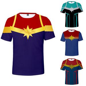 Captain-Marvel-Super-Hero-T-Shirt-Tee-Cotton-Summer-Men-Short-Top-Casual-Print