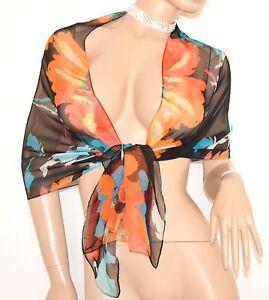 STOLA-donna-NERO-CORALLO-foulard-SETA-elegante-coprispalle-da-cerimonia-5N
