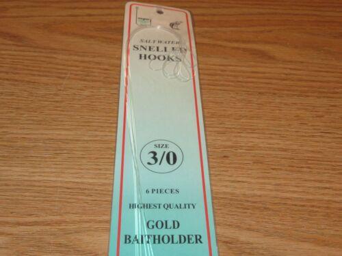 3 PKS SIZE 3\0 SNELLED GOLD BAITHOLDER HOOKS 18 SALTWATER FISH HOOKS GBH-3\0