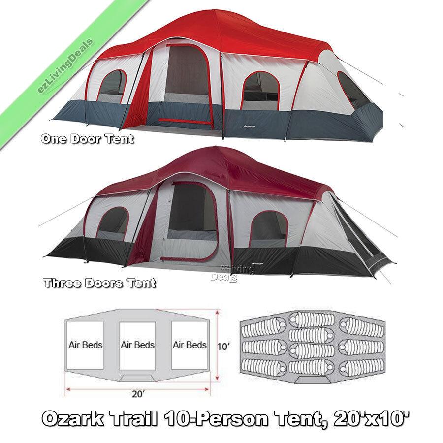Ozark Trail 10 persona tienda de la familia 20x10' de 3 habitaciones grandes cabina tiendas de campaña acampar al aire libre