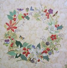 Memento Fringe Parchment Gold Christmas Flower Wreath Hoffman Fabric Yard