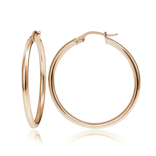 Rose Gold Flash Sterling Silver 2mm Polished Round Hoop Earrings Choose A Size