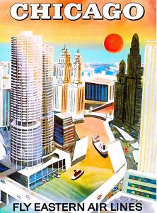 Chicago Illinois Vintage United States America Travel Advertisement Art Print