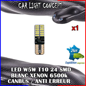 1-x-ampoule-veilleuse-Feu-LED-W5W-T10-BLANC-XENON-6500k-voiture-auto-moto-24-smd