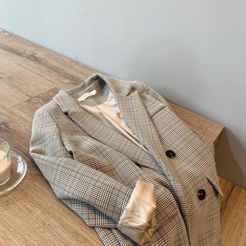 2020 new autumn Korean retro plaid suit jacket Loose casual suit top Fall Winter