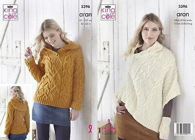 Womens Cable Knit Hoody Poncho Hand Warmers Knitting Pattern King Cole Aran 5396