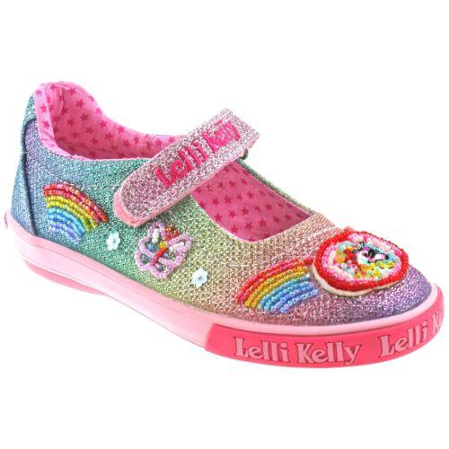 GX02 Lelli Kelly LK9070 Multi Glitter Rainbow Sparkle Unicorn Dolly Shoes
