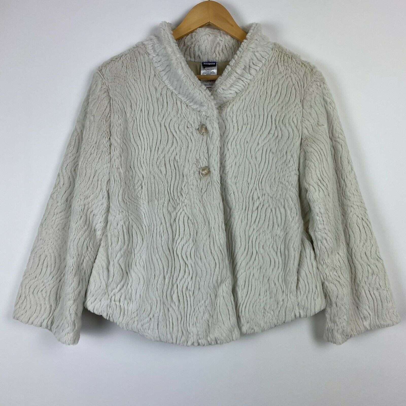 Patagonia Large Off White Fuzzy Furry Pelage Jacket Coat Womens Lined Pockets
