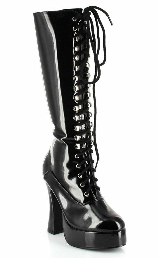 ELLIE EASY BLACK CHUNKY COMBAT LACE UP COSTUME PUNK GOTH Damenschuhe BOOT HEELS Schuhe