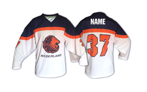 Team Netherlands Holland WHITE Ice Hockey Jersey Custom Name and Number
