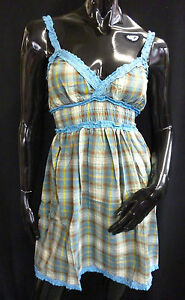 Womens Ladies New Elasticated Checked Frill Dress- 3 Colours (Sizes 8 - 14)