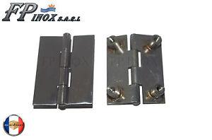 Charnière inox ( Sans Vis ) 51x39mm Epaisseur 1.2mm ( Lot de 2 ) Ref 3882101X2