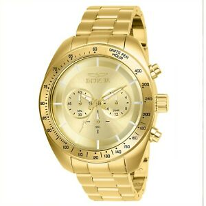 Invicta-Men-039-s-Speedway-28905-48mm-Gold-Dial-Stainless-Steel-Chronograph-Watch