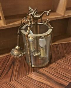 IndéPendant Tres Rare Ancienne Lampe Suspension Lustre Verre Bronze Art Deco Nouveau Boat
