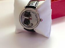 NWT Betsey Johnson Women's Black Cat Watch w/ Black Patent Leather Band $135