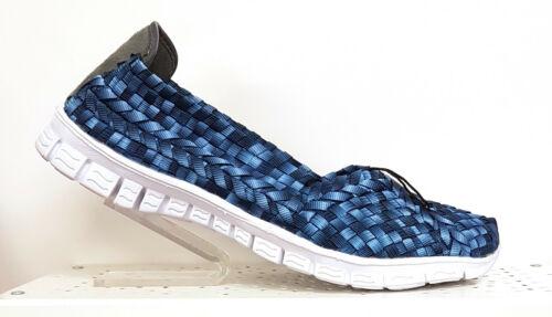 Adesso Lolly Tie-Dye Blue Slip On Chaussure Tissé Élastique Mousse Mémoire Semelle Entièrement neuf dans sa boîte