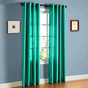 2pcs Mira Teal Green Solid Grommet Faux Silk Window