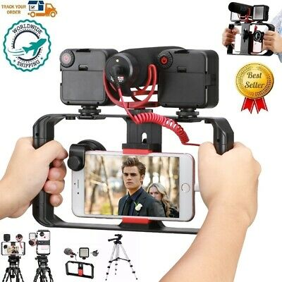 Leoie ULANZI ST-02L Smartphone Vlog Phone Mount with Cold Shoe for Microphone Vlogging Phone Stand Holder 1//4 Screw for iPhone Android