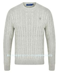 Ralph-Lauren-Men-039-s-Crew-Neck-Cable-Knit-Cotton-Jumper-Grey-S-XL-RRP-119-SALE