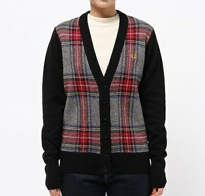 Fred Perry Women/'s Classic Tipped Cardigan Ladies Sweater Top Jumper In Blue
