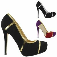 NEW WOMENS CONCEALED LADIES STILETTO HIGH HEELS PLATFORM COURT SHOES SIZE 3-8