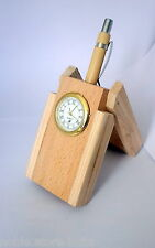 Wooden Pen Stand With Clock Office Table Home Decor birthday Gift