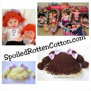 85a6fdd1e6b Cabbage Patch Kid Crochet Hat Wig With Pigtail Braids and Purple ...