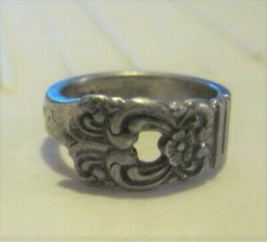 Vintage Silver Spoon Ring...Floral Ring...Size 6...Signed...Wide Band Ring...Spoon Ring Jewelry