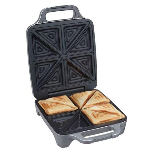 Cloer Sandwichmaker 6269 4er XXL Silber für geteilte Toasts Backampel 1800 W