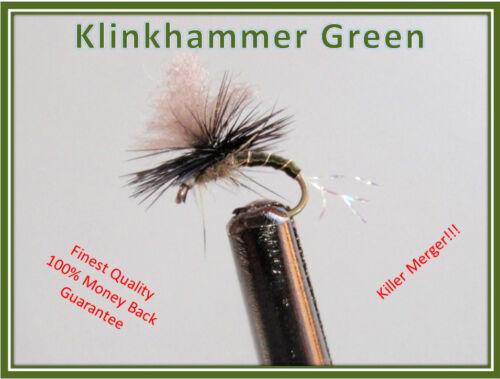 Size 14 hooks KLINKHAMER GREEN PARACHUTE 1 DOZ TROUT FLIES