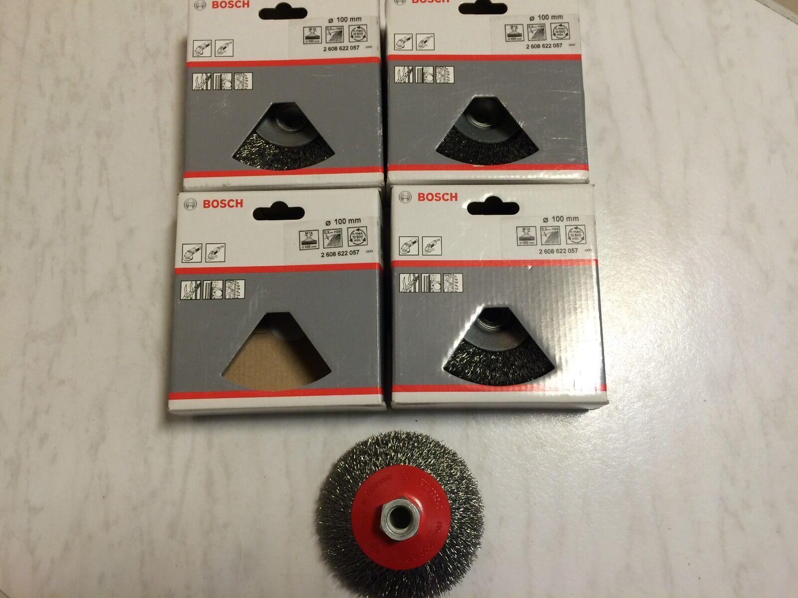 4 x BOSCH Zubehör 2608622057 Kegelbürste 100 mm, 0,3 mm, 12500 U/ min