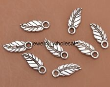 50pcs Tibetan Silver Charms leaves Pendant DIY Jewelry Findings 17x7mm A3138