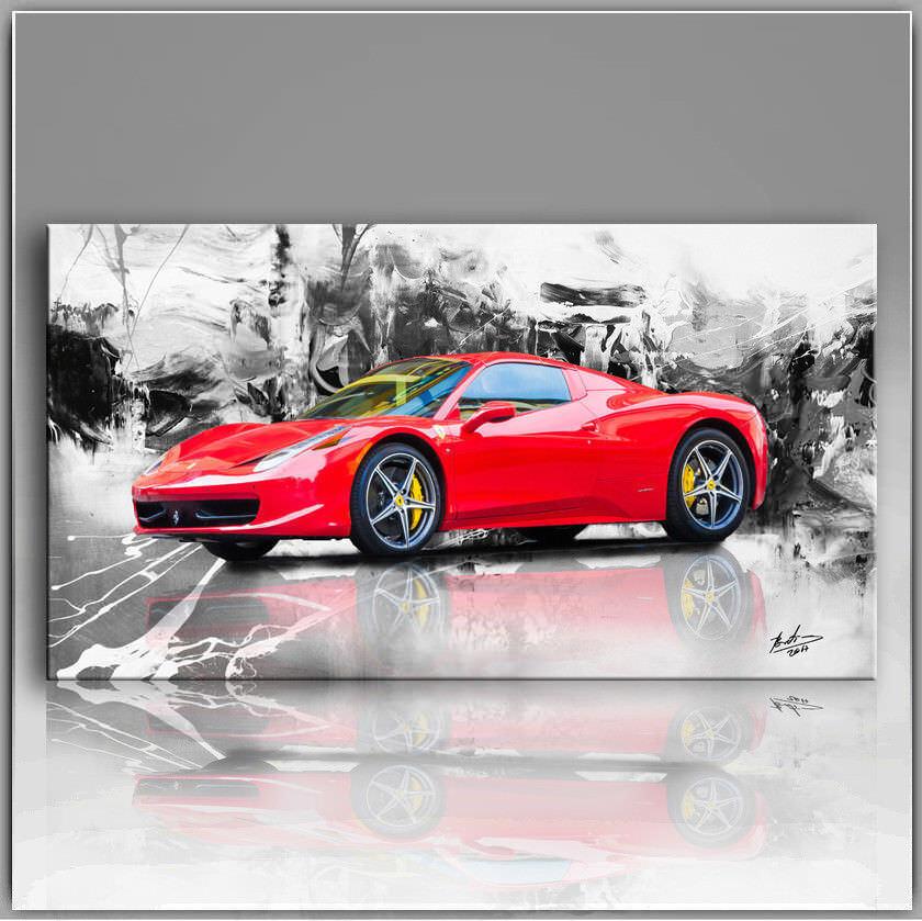 Ferrari voiture voiture de sport Images Sur Toile Abstrait la la Abstrait fresque art pression XL 734 a d6f69c