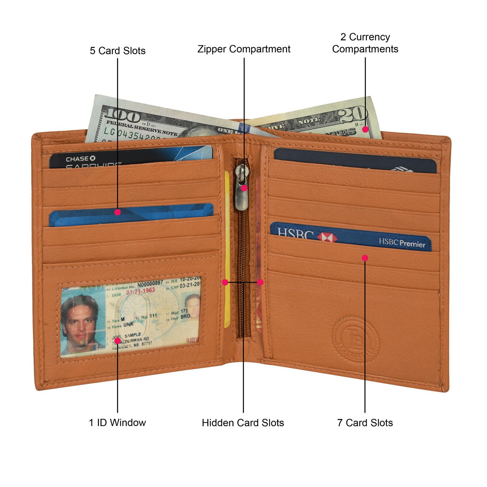 Leatherboss Genuine Leather Men RFID Credit Card Holder Bifold Wallet, Tan