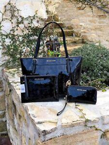 NWT-Michael-Kors-Ciara-Large-tote-Metallic-Signature-handbag-Wristlet-Wallet
