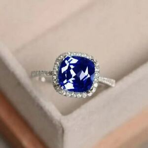 Blue-Tanzanite-White-Topaz-925-Sterling-Silver-Gemstone-Ring-Size6-10
