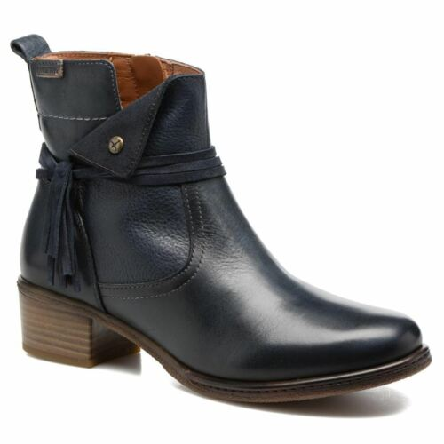 Pikolinos Zaragoza W9H-8800 Ocean Womens Leather Zip Tassel Mid Heel Ankle Boots