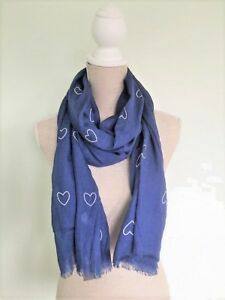 Zelly-Denim-Blue-Grey-Red-White-Heart-Hearts-Cotton-Scarf-Scarves-LilyRosa