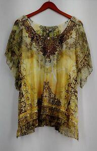 One-World-Plus-Size-Top-3X-Print-Knit-Flutter-Sleeve-Chiffon-Overlay-Yellow-New